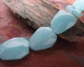 Chalcedony Large Freeform Glass Faceted Focal Beads, 7 PC