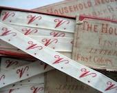 Vintage Linen Initial Tapes Original Box Letter V