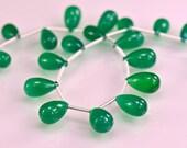 Sale -AAA Green Onyx Smooth Briolettes AAA  Onyx Gemstone Teardrop Briolettes