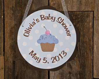 Cupcake Theme Door Hanger Party Sign - Cupcake Baby Shower Decorations in Blue & Brown