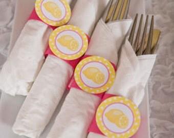 Lemonade Birthday Party - Napkin Rings - Silverware Wraps - Lemonade Theme - Birthday Decorations in Yellow & Pink (12)