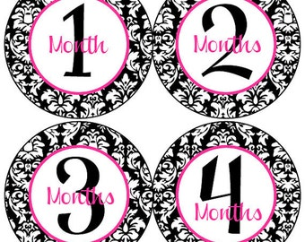 Baby Month Stickers Baby Girl Monthly Stickers Hot Pink and Black Damask Month Stickers Girl Baby Shower Gift and Photo Prop Veronica