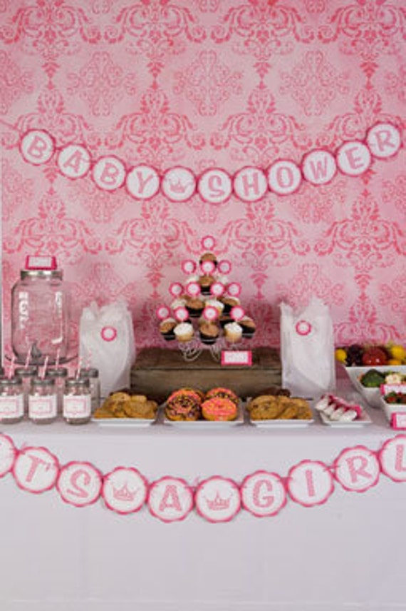 princess themed baby shower it 39 s a girl banner princess baby shower
