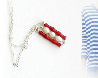 Nautical pendant,  pearls and coral beads on sterling silver chain by lenamer.