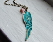Angel Wing Necklace. Inspirational Jewelry. Vintage Inspired. Verdigris Necklace. Turquoise Jewelry. Turquoise Necklace. Shabby Chic