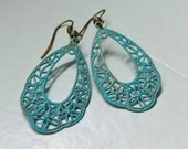Turquoise Verdigris Earrings. Filigree. Patina. Teal. Lacey Earrings. Statement Earrings. Vintage Inspired. Bohemian. Boho