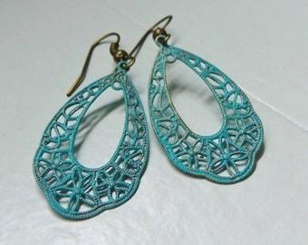 Turquoise Verdigris Earrings. Filigree. Patina. Teal. Lacey Earrings. Statement Earrings. Vintage Inspired. Bohemian. Boho