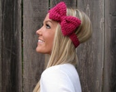Antique Rose Crochet Bow Headband w/Natural Vegan Coconut Shell Buttons Adjustable Hair Band Girl Woman Teen Head Pink Cute Knit Accessories