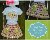 "INSTANT Download SIG Susi Skirt Basic Skirt Pattern with Gathered Pocket- Size 0-3 month to 5T, including 18"" Doll Pattern"