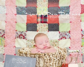 Newborn Baby Photography Prop Digital Backdrop for Photographers -Quilted Memories