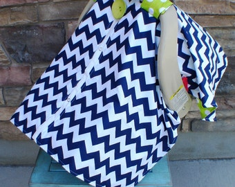Carseat canopy / Car seat canopy / Carseat cover / Car seat Cover / nursing cover / navy / lime green