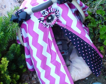 Car seat Canopy Girl Hot Pink and Black  / Car seat cover / car seat canopy / carseat cover / carseat canopy / nursing cover
