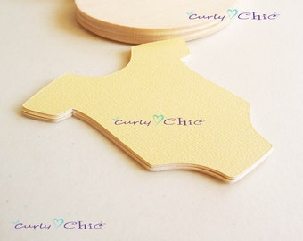 """60 Baby Bodysuit Tags Size 3"""" -Baby Bodysuits tags -Paper Baby shirt die cuts -Cardstock Baby shower die cuts -Custom Bodysuit labels"""