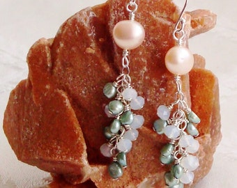 Creamy Coin Fresh Water Pearl and Cluster Green Fresh Water Pearl and White Crystal Rondelle Sterling Silver Earrings