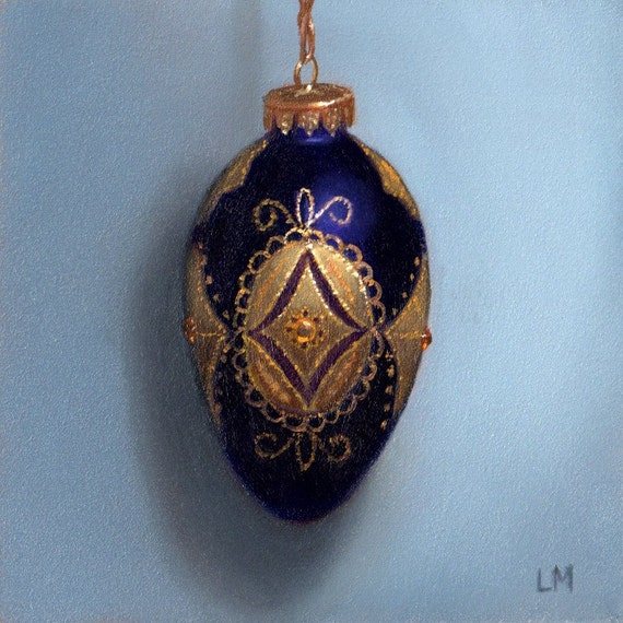 Original Oil Painting Purple and Gold Filigree Egg Ornament 4x4 L. Merchant SFA Fine Art Miniature Hand Painted Oil Painting Still Life OOAK