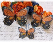 Tiger Lily Glitter Glass Butterfly Die Cut Embellishments for Scrapbooking, Cardmaking, Tag Art, Mixed Media, Wedding