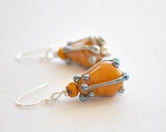 Golden Tulip Earrings - Lampwork Glass Earrings