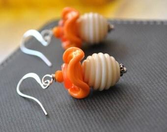 Ridged Orange Earrings, Lampwork Earrings, Glass Earrings, Flower Earrings