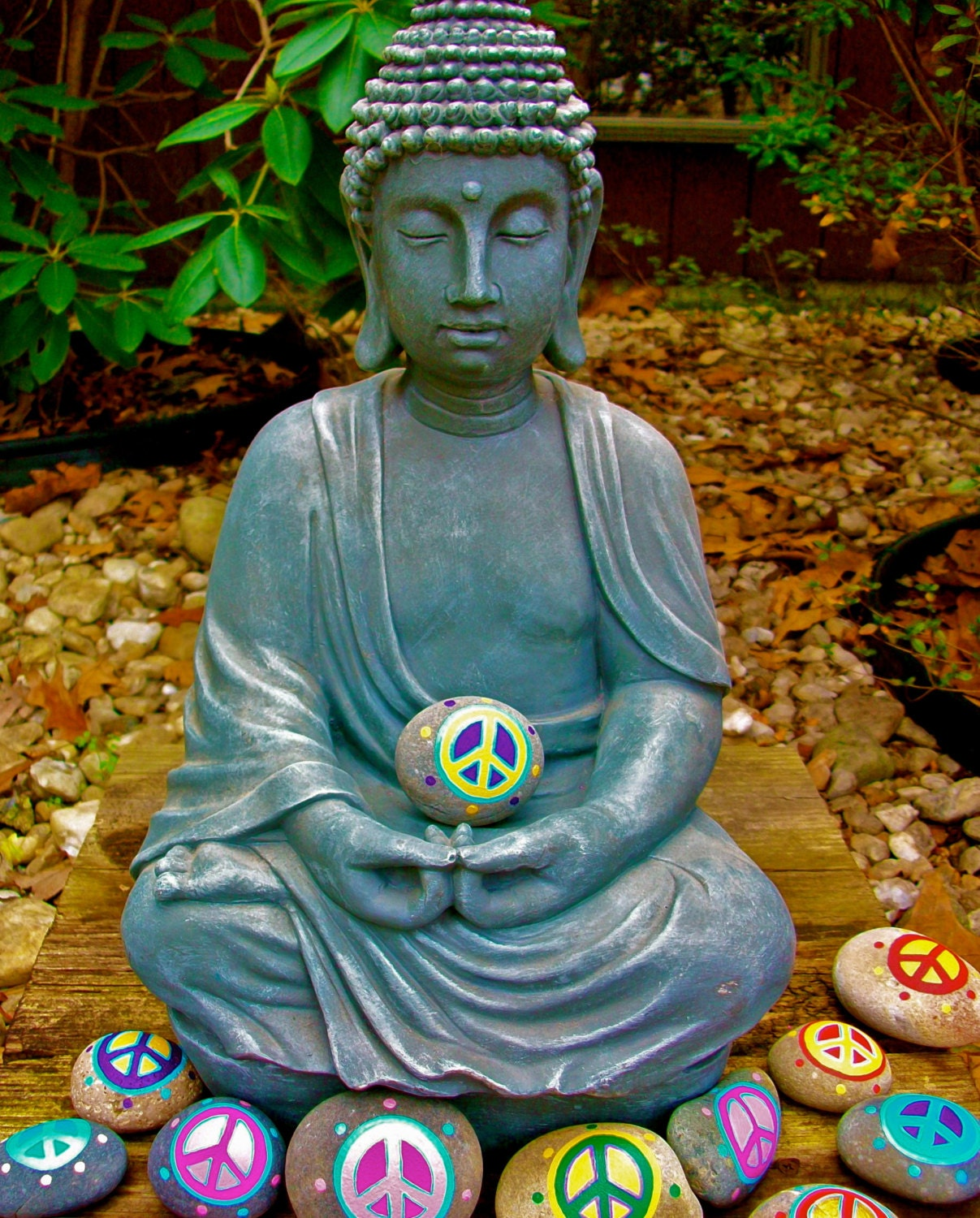 Buddha peace rock art print by innersasa on etsy for Art sites like etsy