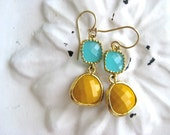 Gold Aqua Dangle Earrings Summer Beach