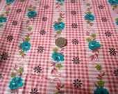 Vintage Teal Blue Roses Cotton Fabric 36w On Gingham  2 Yards SALE