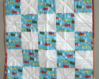 Doll Quilt - Christmas Stocking Fabric