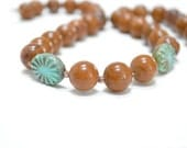 Chunky Necklace, Brown Necklace,Turquoise, Chocolate, Teal, Coffee, Patina, Fall Fashion, Woodland, Under 25 - Brown Tiger