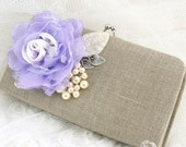 Clutch, Linen, Lilac, Lace, Pearl Clutch, Wedding, Bridal, Bridesmaids, Maid of Honor, Handbag, Purse, Ivory, Silver, Vintage Inspired