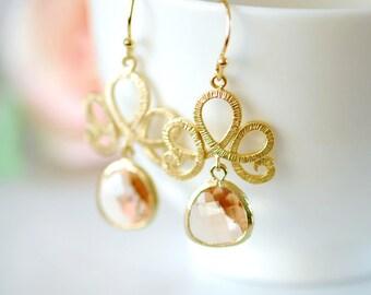 Peach earrings, gold filled earrings, peach crystal earrings, Peach jewelry, peach wedding, peach colored wedding, gold earrings