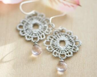Rose quartz earrings, Pink stone earrings, Pink earrings, lace earrings, pink chandelier earrings,  pink gemstone earrings