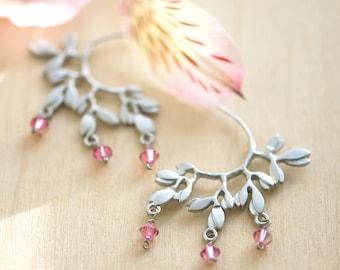 Leaf earrings, Unique earrings, Silver and pink earrings, Half hoop earrings, Pink earrings, Fuchsia earrings, wedding jewelry