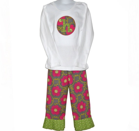 Girls Custom Boutique Initial Tshirt & Ruffle Pants - Pink, Green, Grey
