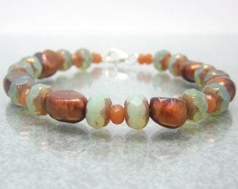 Pearl Glass Sterling Silver Bracelet - Gemstone Bracelet - Beaded Bracelet - 8 Inch