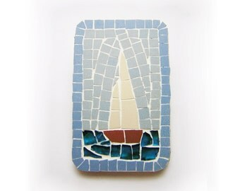 fridge magnet - Mosaic with ceramic tiles - sailboat