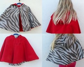 Made to Order Reversible Cape Red Wool with Choice of Lining