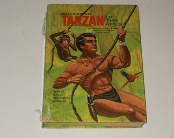 Vintage 1964 Tarzan of the Apes Adventure Story by Edgar Rice Burroughs - Whitman Collectible Book Art Illustrated