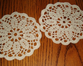 set of 2 Linen TAN colored 6 inch doilies or coasters Handmade crocheted