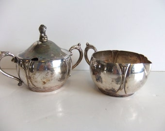 Vintage Cream and Sugar set Silver on Copper Opalite