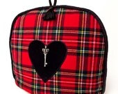Tartan - Royal Stewart -Tea Cozy / Cosy with Black Velvet Heart Applique and Silver Crown Key