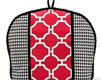 Tea Cozy/Cosy - Houndstooth with Red and White Lattice Insert / Black Velvet ribbon Embellishment