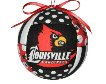 Louisville Cardinals Christmas Ornament Handmade Holiday Tree Decoration Quilted Fabric Ornament Christmas Home Decor by CraftCrazy4U