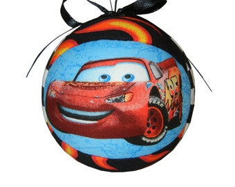 CARS Lightning McQueen and Luigi Tree Decoration Holiday Decor Quilted Kimekomi Childrens Christmas Handmade Kid Ornament by CraftCrazy4U