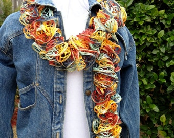 Ruffle Scarves, Multi Color Ruffle Scarf with Gold Metallic Accent, Scarf with Ruffles, Lace Knitted Scarf, Gift for Her