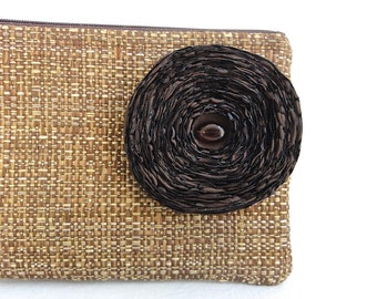 Brown Woven Clutch Handbag / Chocolate Brown Fabric Flower - READY TO SHIP