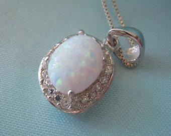 REDUCED Estate Incredible Rainbow Luster Lab OPAL CZ Pendant Necklace Free Shipping