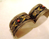 Vintage Silver and Enamel Hinged Bracelet for Repair, Cuff Bracelet, For Repurpose, For Craft