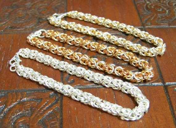 Byzantine chainmaill bracelet - sterling silver - silver / gold plated copper. Choose your color