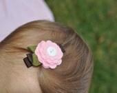 Brown and Pink Felt Flower Daisy Hair Clip