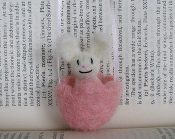 Little Bunny in Pink Tulip Ribbon Necklace