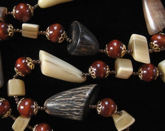 Horn and Wood Beaded Necklace